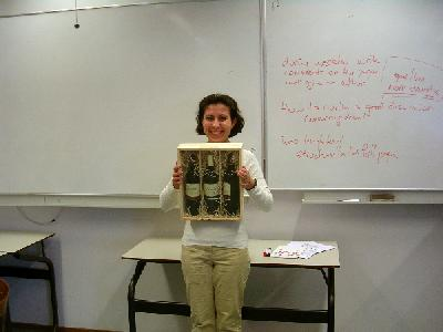 Fatima displays the prestigious most improved manuscript prize
